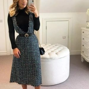 NWT Zara Tweed Overall Dress 3440/047 Blogger